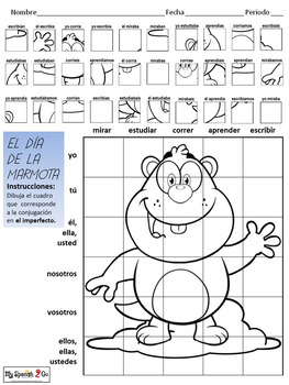 GROUNDHOG DAY: Spanish Regular Imperfect Tense -ar/-er/-ir Verbs- Draw on Grid