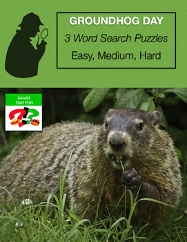 GROUNDHOG DAY Word Search Puzzle - February - 3 levels - Early Finisher