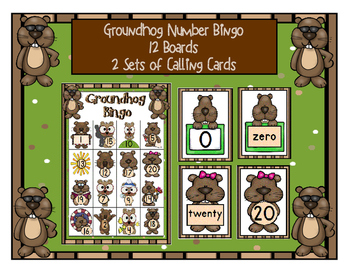 GROUNDHOG NUMBER BINGO 0 - 20 GAME WITH 12 UNIQUE BOARDS & 2 SETS CALLING CARDS