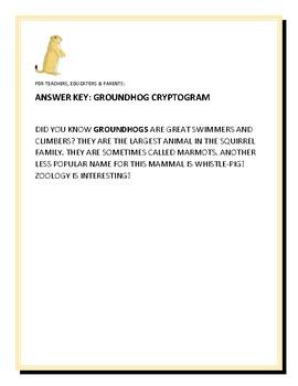 GROUNDHOGS: AMAZING ANIMALS: A CRYPTOGRAM