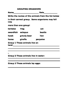 GROUPING ORGANISMS WORKSHEET