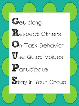 GROUPS Cooperative Learning Behavior Expectations Poster
