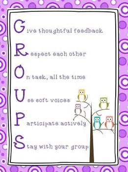 GROUPS Poster Purple Polka Dot and Owls Theme