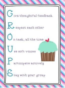 GROUPS Poster Stripes and Cupcake Theme