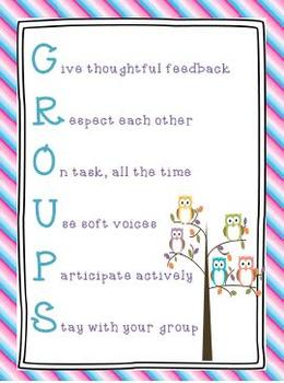 GROUPS Poster Stripes and Owl Theme