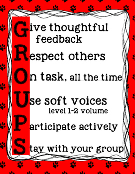 GROUPS poster for small group and partner work behavior management