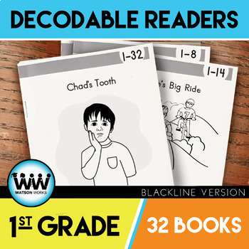 GROWING BUNDLE: 1st Grade Decodable Readers ~ 32 Color/Blackline PDFs & eBooks