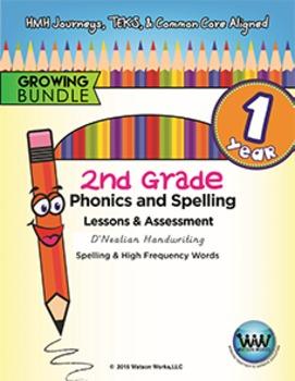 BUNDLE: 2nd Grade Watson Works Phonics & Spelling D'Nealian~1 Year