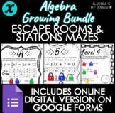 GROWING BUNDLE - ALGEBRA - Stations Mazes & Escape Rooms -