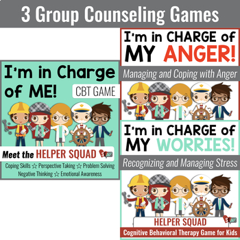 Cognitive Behavioral (CBT) Activities and Games Bundle for School Counseling