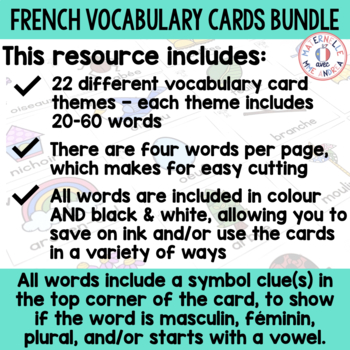 FRENCH Vocabulary Cards Year Long Bundle (cartes de vocabulaire)