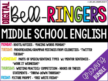 GROWING BUNDLE: Digital Bell Ringers English Middle School Warm ups