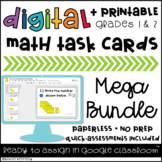 Google Classroom™ Activities: Digital Task Cards Mega Bundle {Grades 1 & 2 Math}