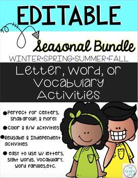 SEASONAL BUNDLE Editable Word Work, Letter, & Vocabulary Interactive Activities