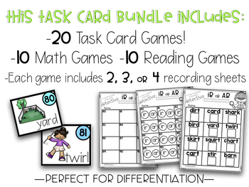 GROWING BUNDLE First Grade Monthly Task Card Games Math and Reading