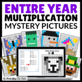ENTIRE YEAR Multiplication Mystery Pictures Google Slides