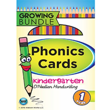 Kindergarten Phonics Cards & Alphabet Cards D'Nealian ~ 1 Year