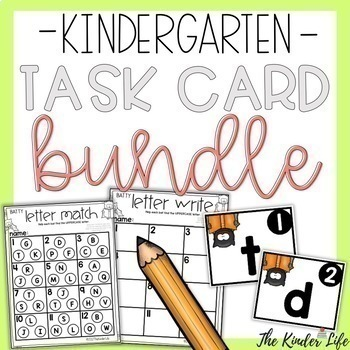 GROWING BUNDLE Kindergarten Monthly Task Card Games Math and Reading