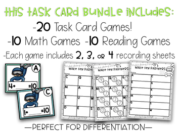 Kindergarten Monthly Task Card Games Math and Reading GROWING BUNDLE