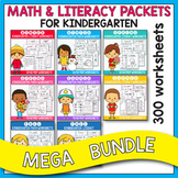 GROWING BUNDLE - Math & Literacy Worksheets Kindergarten,