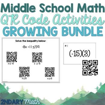 GROWING BUNDLE- Middle School Math QR Code Activities