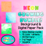 GROWING BUNDLE | Neon Rainbow Background Border Frame | Digital Paper