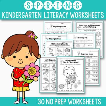 GROWING BUNDLE Literacy Worksheets for Kindergarten, Summer Packet Kindergarten