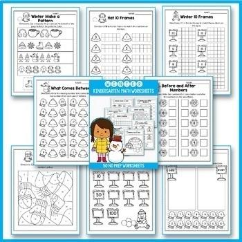 BUNDLE No Prep Math Worksheets for Kindergarten, Fall Activities Kindergarten