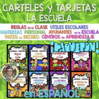 BUNDLE!  CARTELES y TARJETAS en la ESCUELA en  ESPAÑOL Gr. 1-3