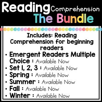 Kindergarten Reading Comprehension Passages and Questions (THE BUNDLE)
