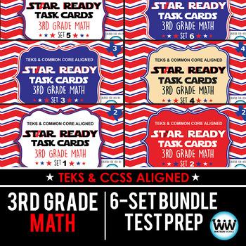 SETS 1-6 BUNDLE - STAR READY 3rd Grade Math Task Cards - STAAR / TEKS-aligned