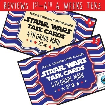 BUNDLE - STAR READY 4th Grade Math Task Cards ~ SETS 1-6 {TEKS-aligned}
