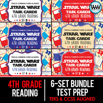 BUNDLE - STAR READY 4th Grade Reading Task Cards ~ SETS 1-6 {TEKS-aligned}