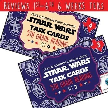 SETS 1-6 BUNDLE - STAR READY 5th Grade Reading Task Cards ~  {TEKS-aligned}