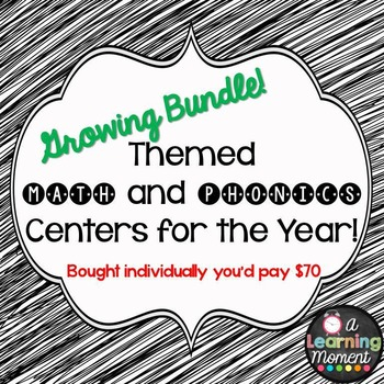 COMPLETE BUNDLE: Themed Math and Phonics Centers for the Year!