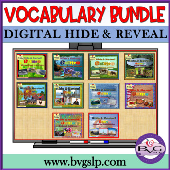 GROWING BUNDLE Vocabulary Hide and Reveal NO PREP NO PRINT - Teletherapy