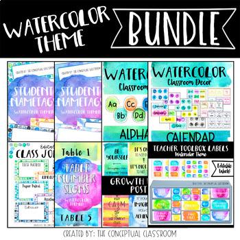 BUNDLE Watercolor Theme Classroom Decor By The Conceptual Classroom