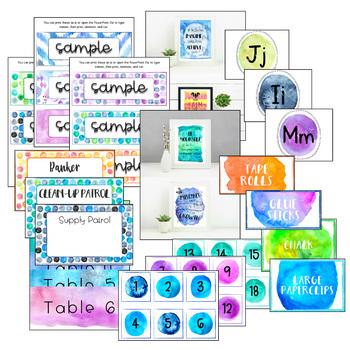 BUNDLE - Watercolor Theme Classroom Decor