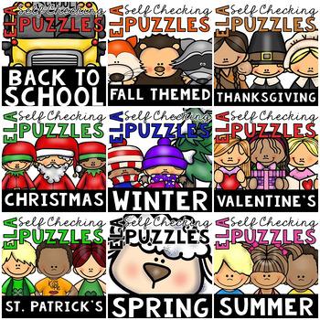 BUNDLE of Seasonal Self-Checking ELA Puzzles