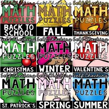 GROWING BUNDLE of Seasonal Self-Checking Math Puzzles