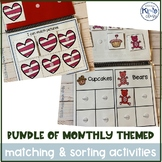 Bundle of Differentiated Monthly Themed Sorting & Matching Activities