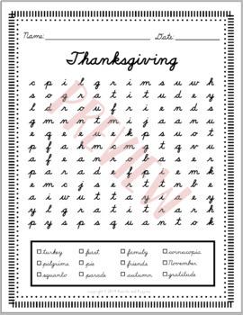 GROWING Holiday BUNDLE Cursive Handwriting WORD SEARCH | D'Nealian cursive