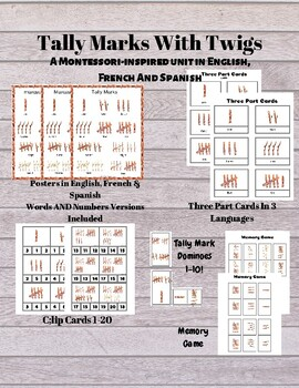 GROWING: Tally Marks Montessori Inspired Bundle In English, French, Spanish Math