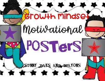GROWTH MINDSET MOTIVATIONAL POSTERS /SUPERHERO THEME