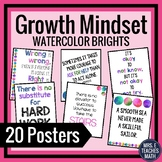 GROWTH MINDSET POSTERS - Bright Watercolor Theme