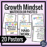 GROWTH MINDSET POSTERS - Pastel Watercolor Theme