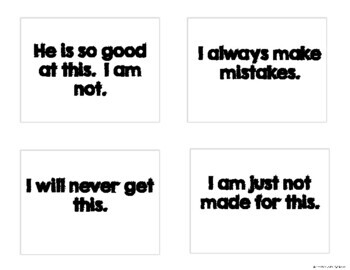 GROWTH MINDSET Posters, Mini-Reminder Cards and Mini-Table Tents (Black & White)