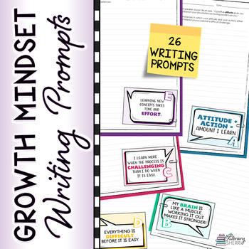 GROWTH MINDSET Self-Talk Writing Prompts, Bell Ringers, Warm-Ups for Grades 6-9