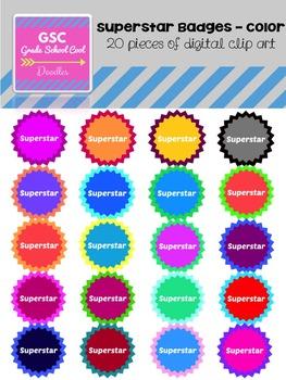 GSC Superstar Badges - Color - Clip Art