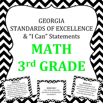 Georgia Standards of Excellence 3rd Grade Math standards and I Can Statements